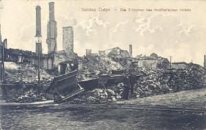 Ruiny hotelu Wkra w 1914r